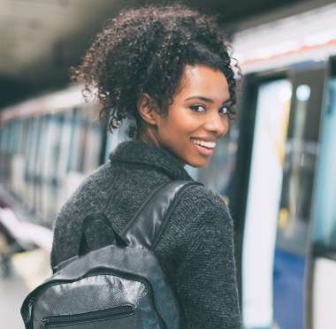 Simple Trigger City living pollution girl getting on train bpack relat