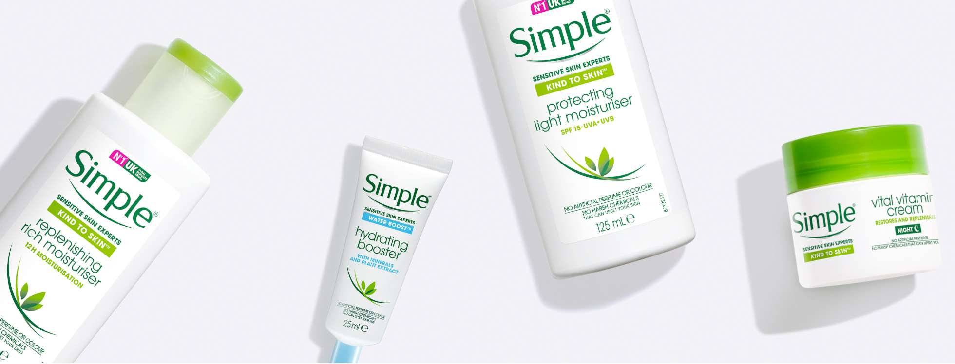 Flat lay of various Simple moisturising products