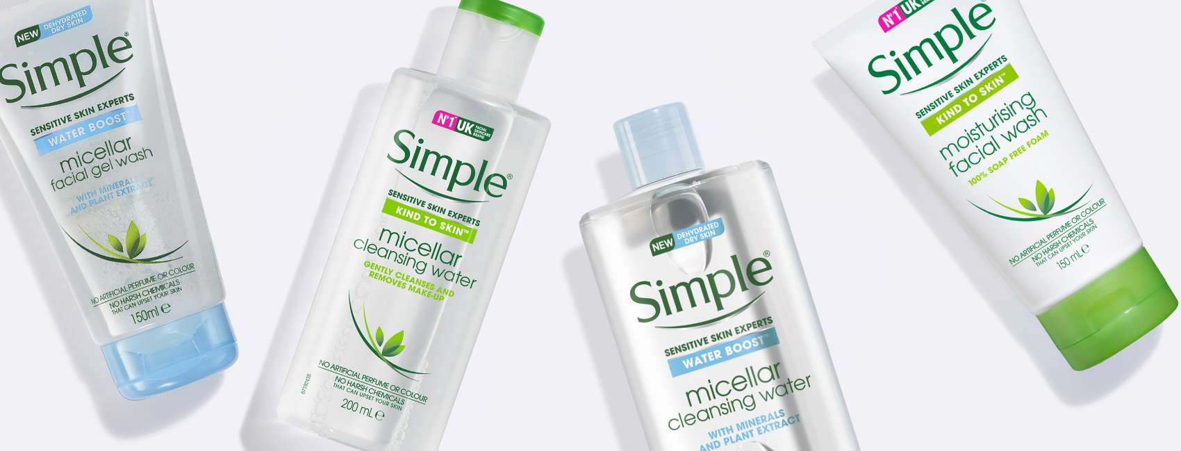 Flat lay of two bottles of Simple Micellar Water and a Simple toner