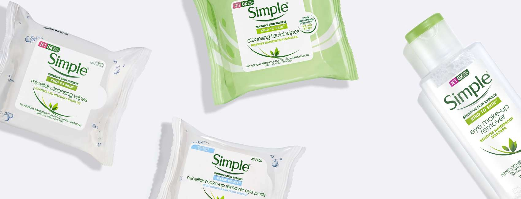 A flat lay of four Simple facial cleansing wipes