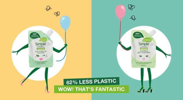 Cartoon of Simple Minis saying 62% less plastic