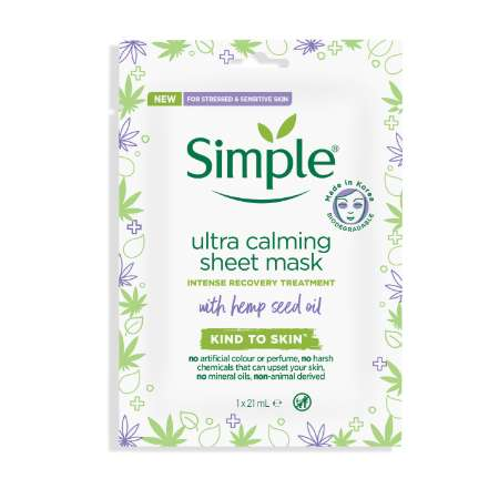 Simple Kind to Skin Ultra calming sheet mask with hemp seed oil