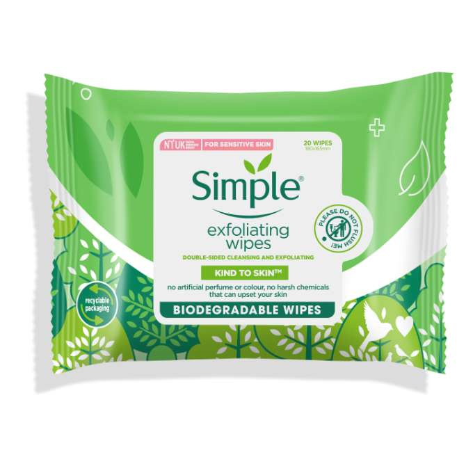 Simple KTS Biodegradable Exfoliating Facial Wipes