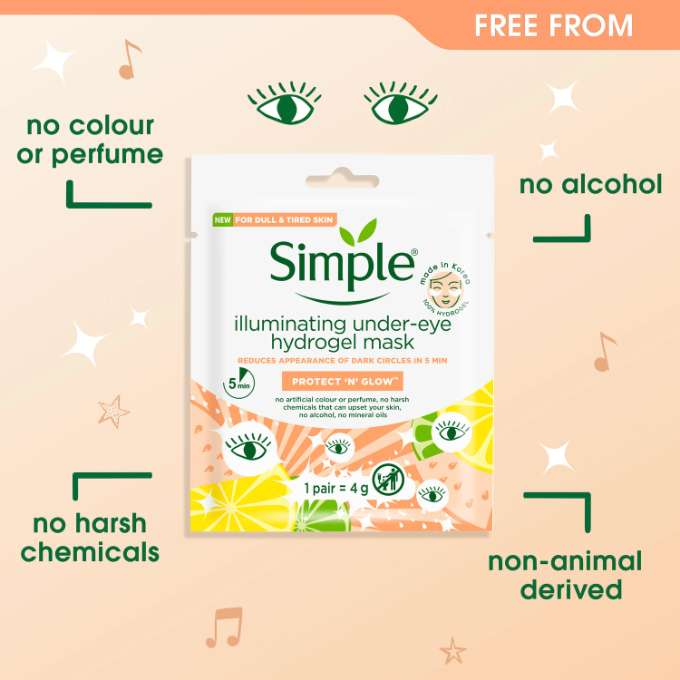 Simple Protect 'n' Glow Illuminating Under-Eye Hydrogel Mask Free From