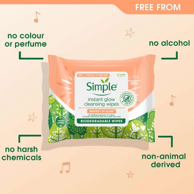 Simple Protect 'n' Glow Instant Glow Cleansing Biodegradable Wipes