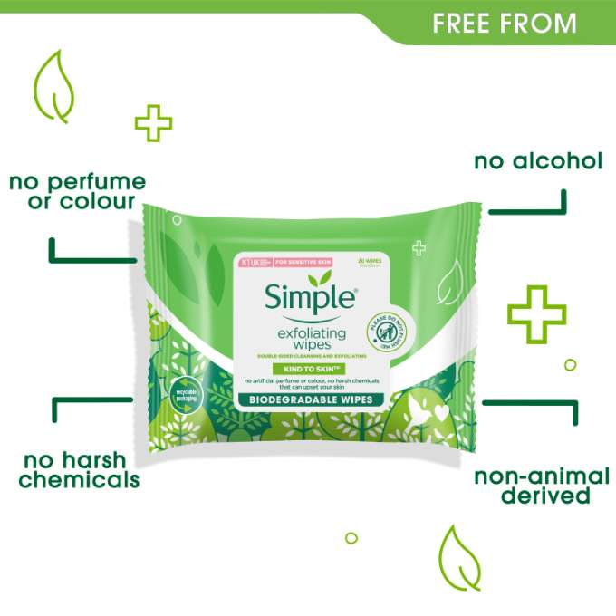 Simple Kind to Skin Bio Exfoliating Facial Wipes Free From