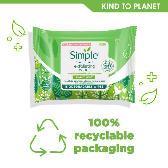 Simple Kind to Skin Bio Exfoliating Facial Wipes Kind To Planet