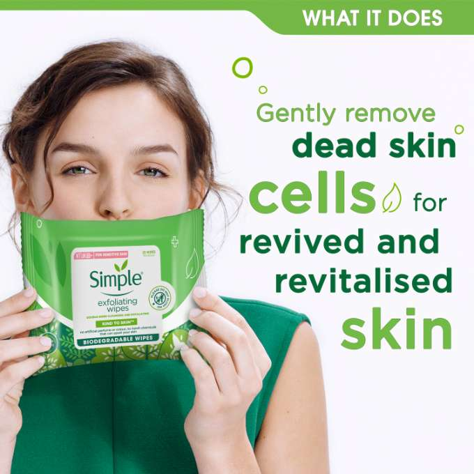 Simple Kind to Skin Bio Exfoliating Facial Wipes What It Does
