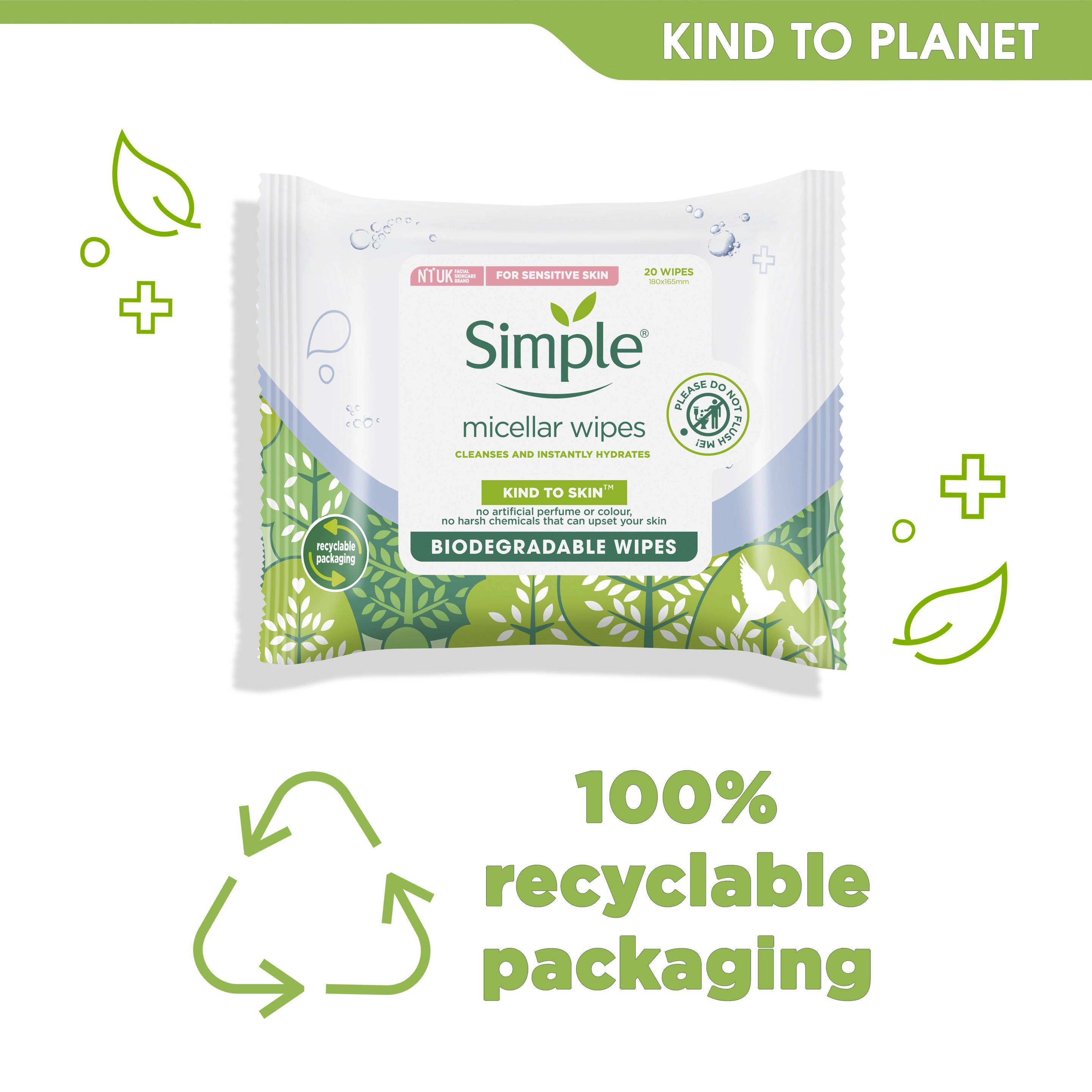 Simple Kind to Skin Bio Micellar Cleansing Facial Wipes Kind to planet