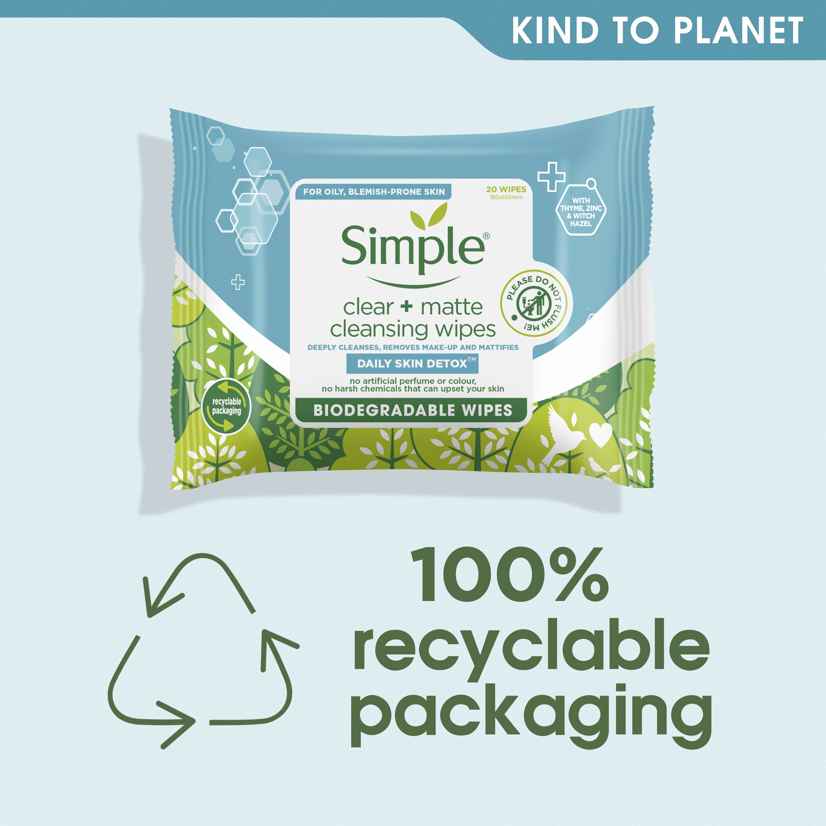 Simple DSD Clear & Matte Cleansing Wipes Kind to Planet