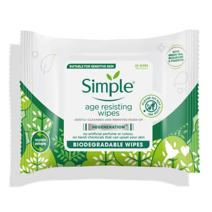 Simple Regeneration Biodegradable Age Resisting Cleansing wipes