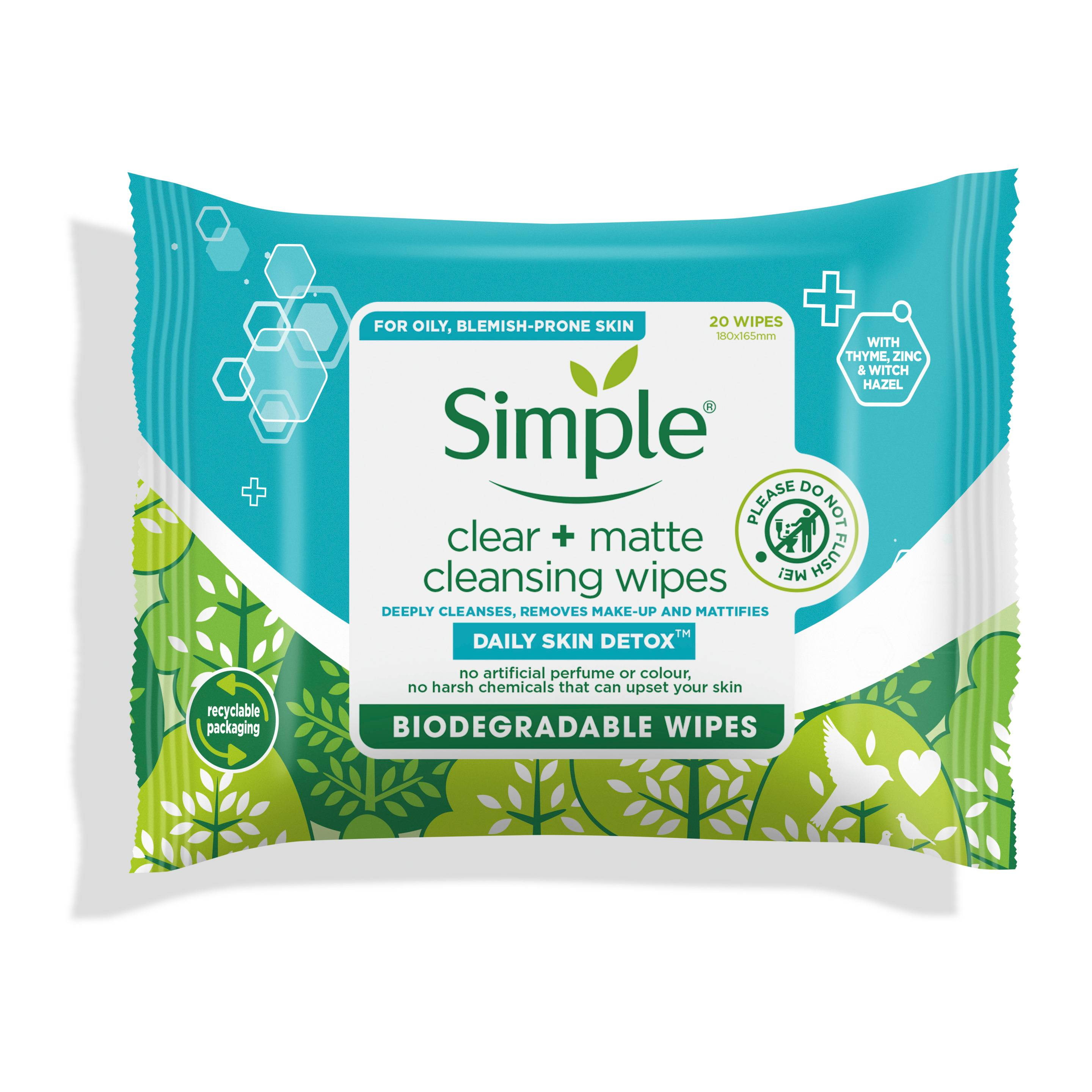 Simple DSD Biodegradable Clear & Matte Wipes