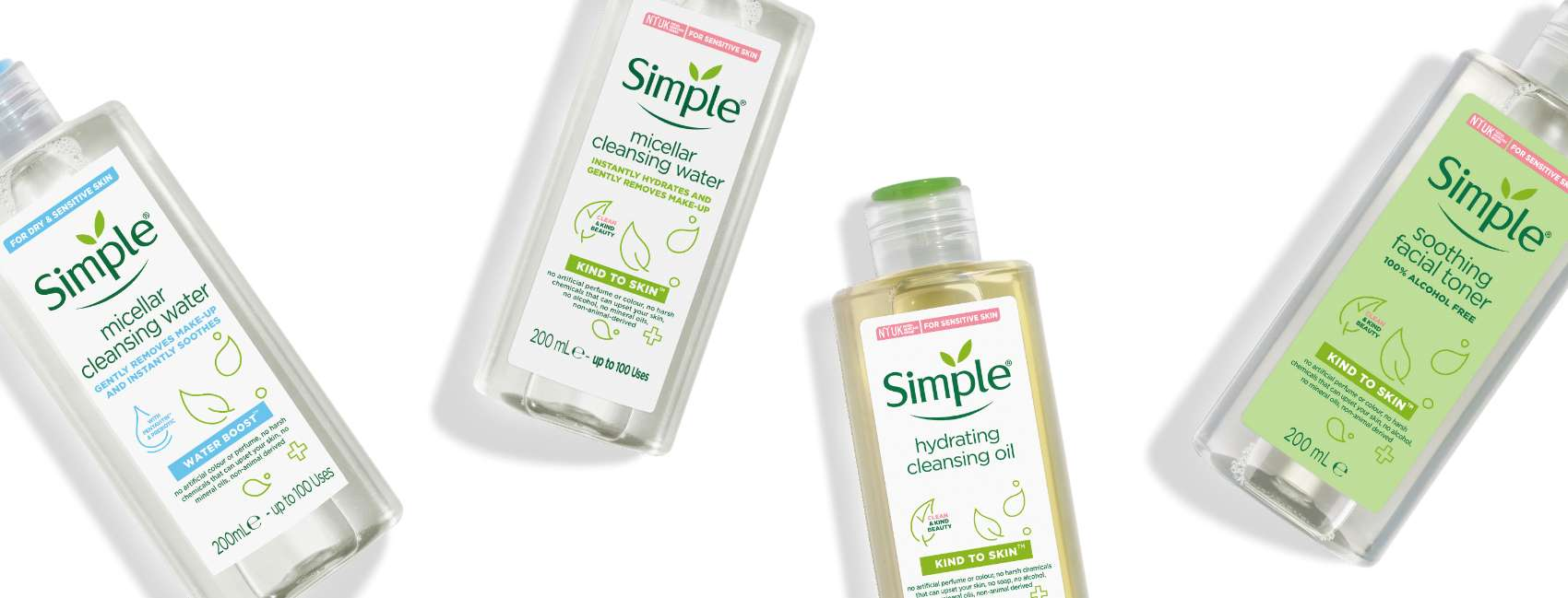 Simple face cleansers and toners