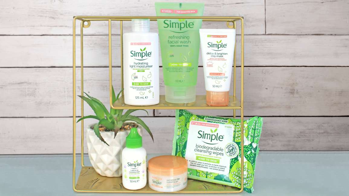 Simple products and plant on a shelf