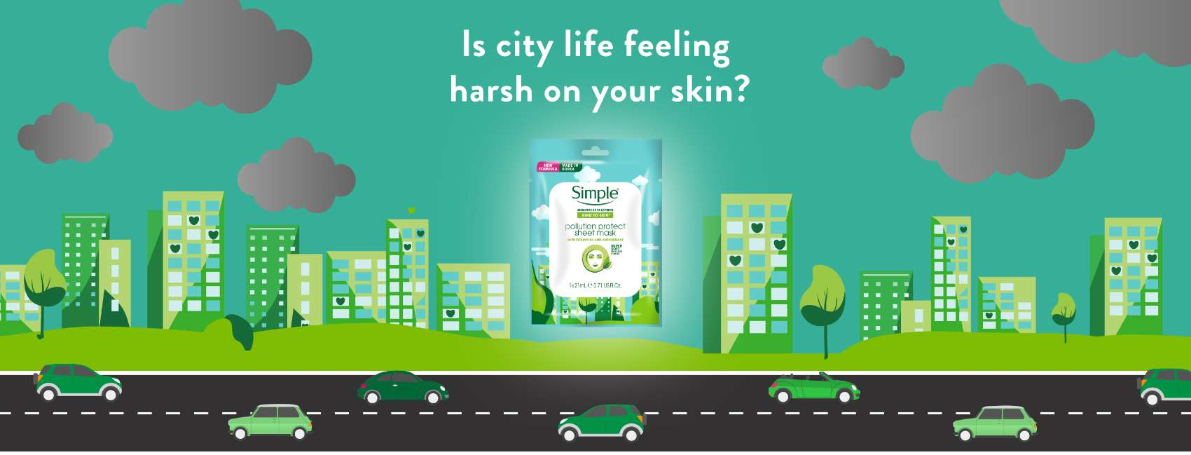 Simple Kind to Skin Pollution Protect Sheet Nask floating on top of a city landscape