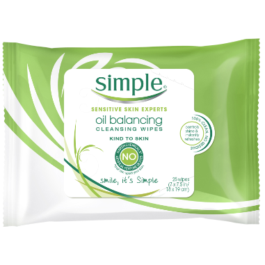 Simple Kind to Skin Facial Care Oil Balancing Wipes 25 count